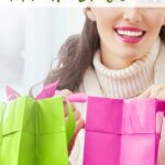 woman with pink and green gift bag