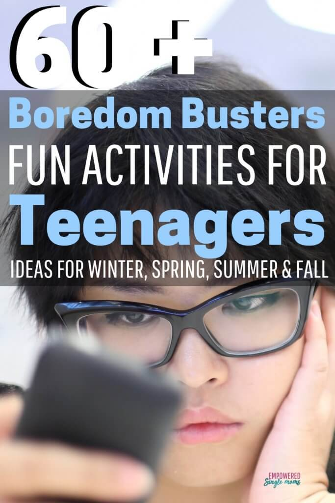 Boredom busters for teenagers. These awesome activities will give your teen things to do alone or with a group of friends. Get tips to help your teens make a bucket list to keep them busy winter, summer, spring, and fall.