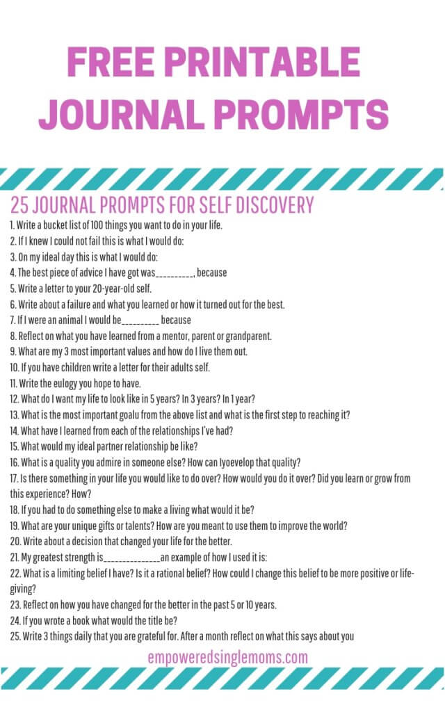 Free printable journal prompts for self discovery