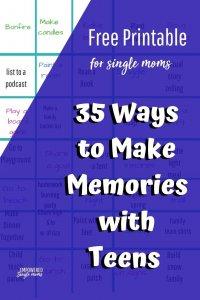 printable to help single moms make memories with teens