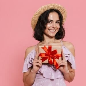 woman with gift